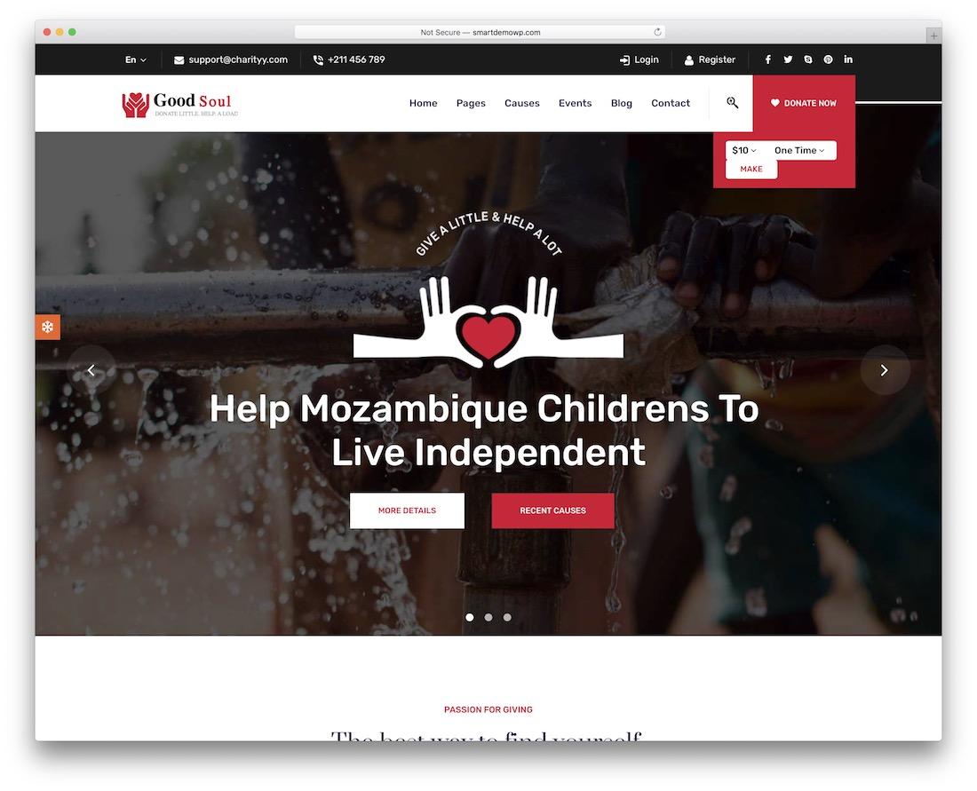 goodsoul fundraising wordpress theme