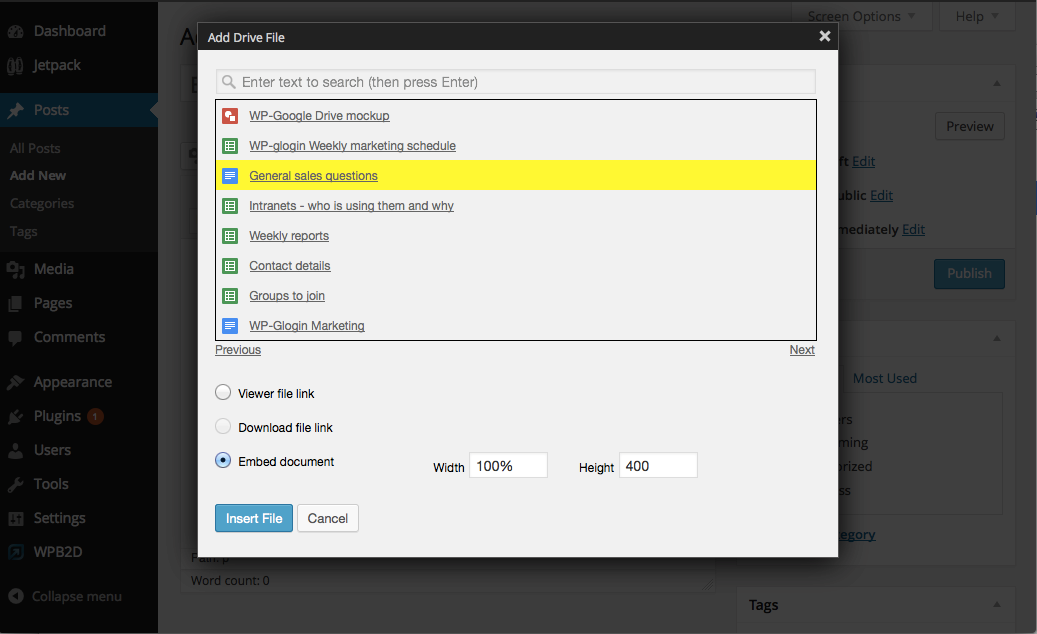 Popup WordPress Google Drive Plugins
