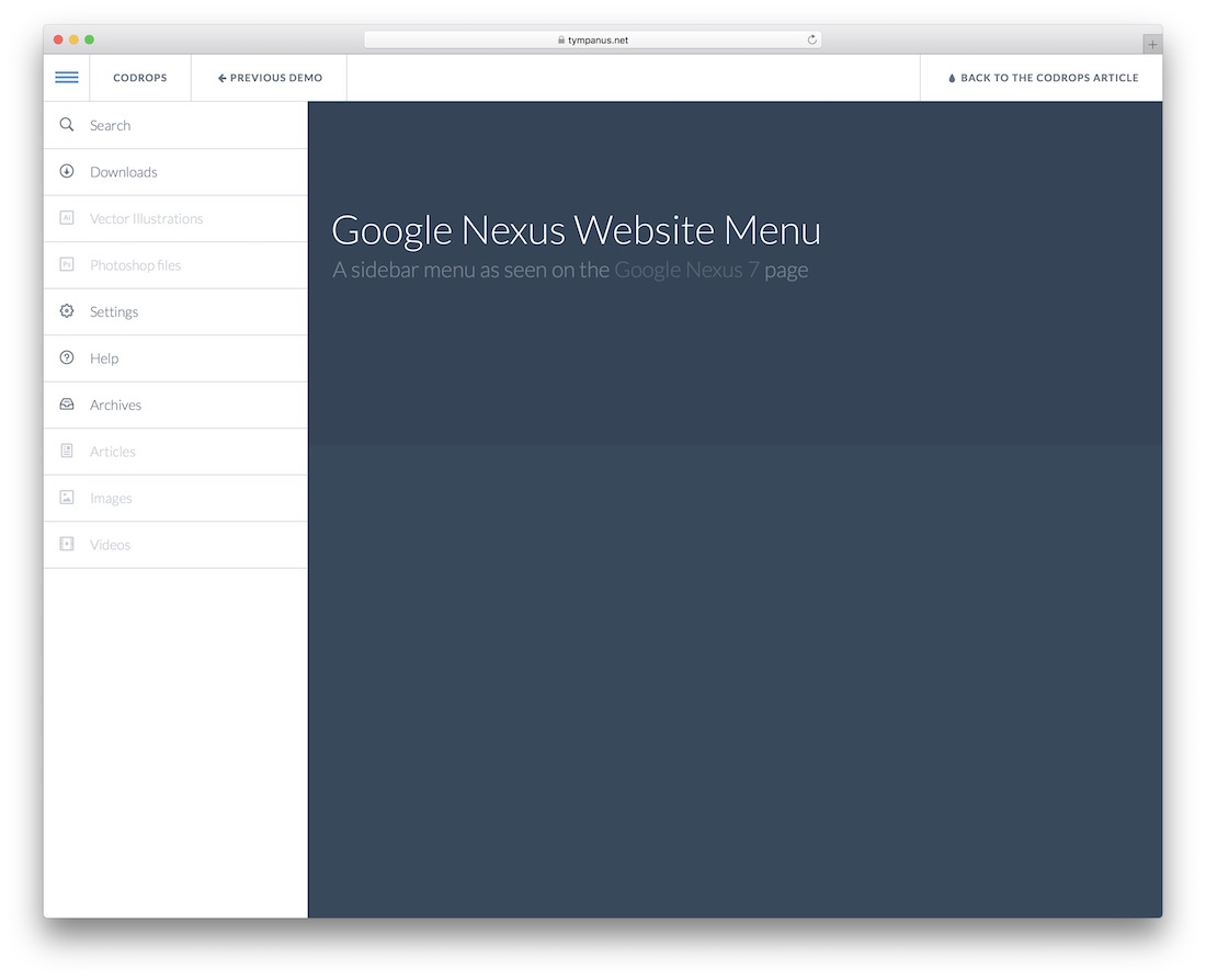 google nexus website menu plugin