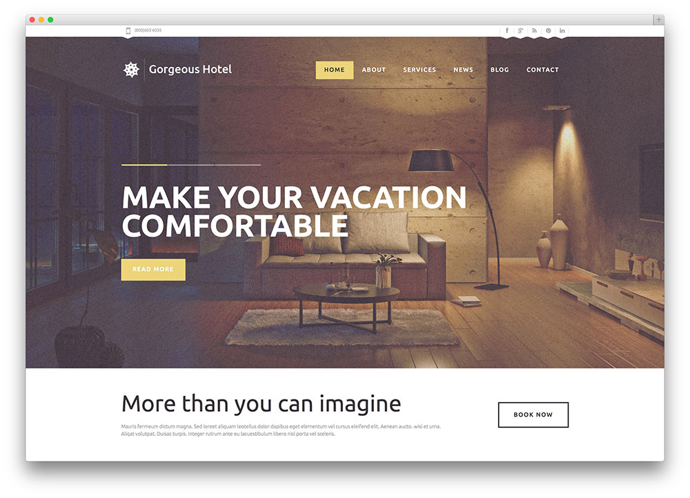 gorgeous WordPress hotel theme