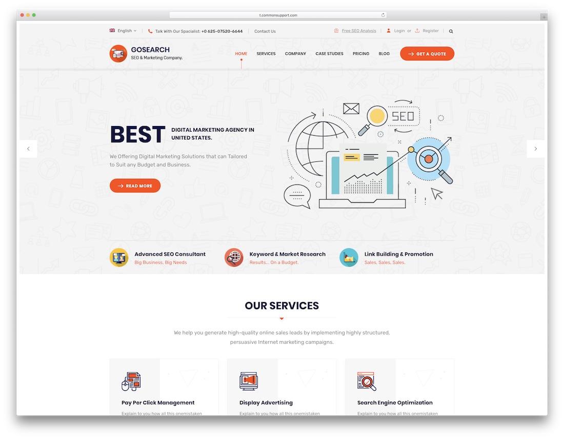 gosearch marketing website template