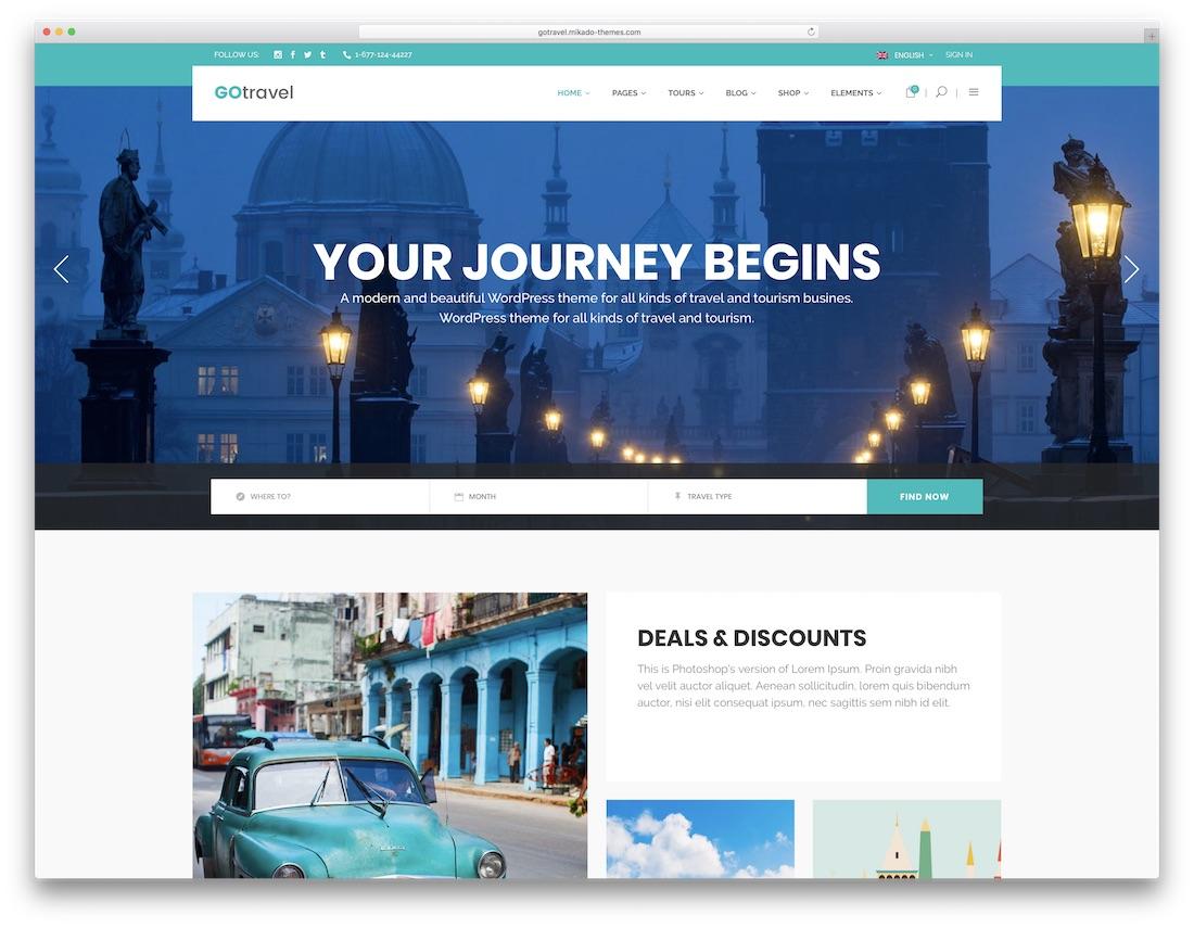gotravel wordpress travel theme