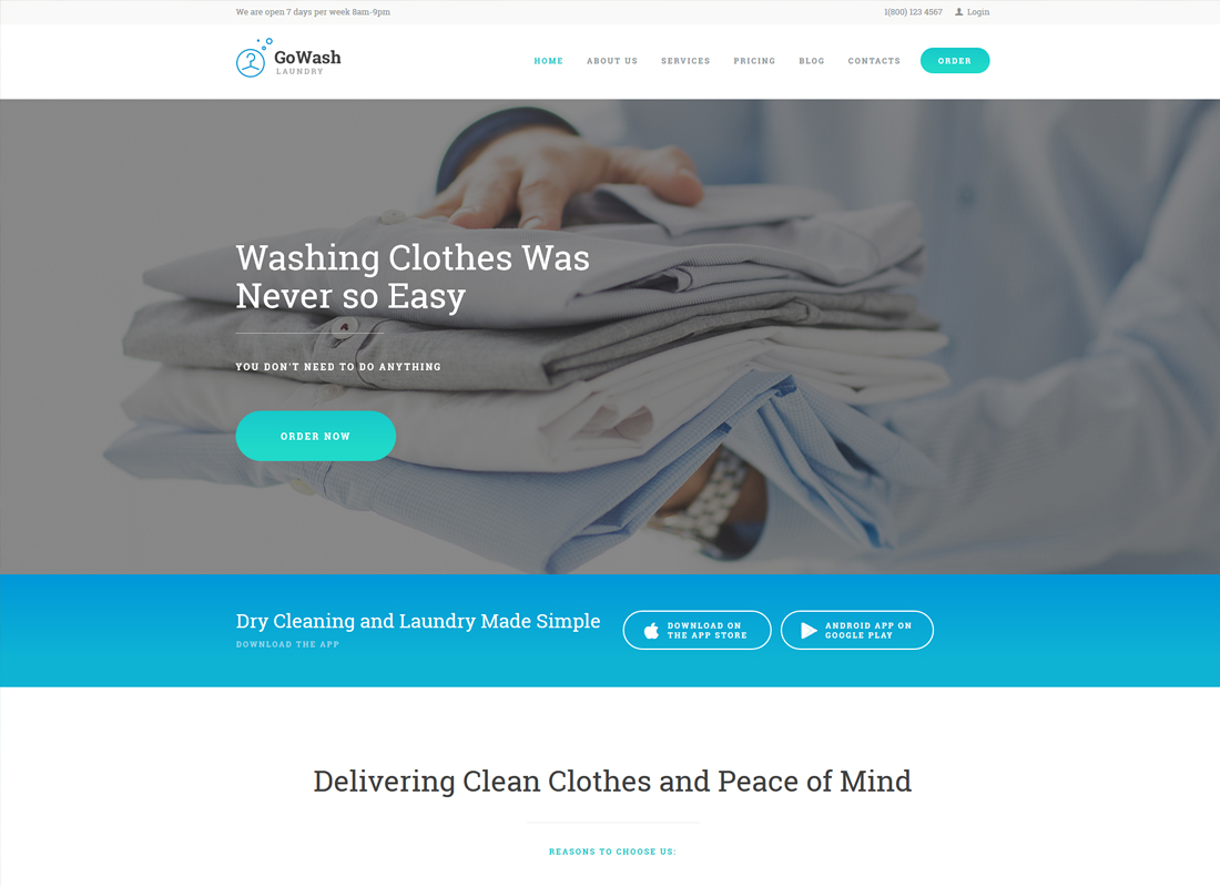 GoWash - Dry Cleaning & Laundry Service WordPress Theme