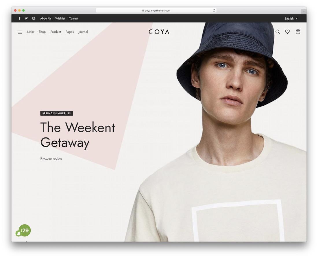 goya t-shirt store wordpress theme