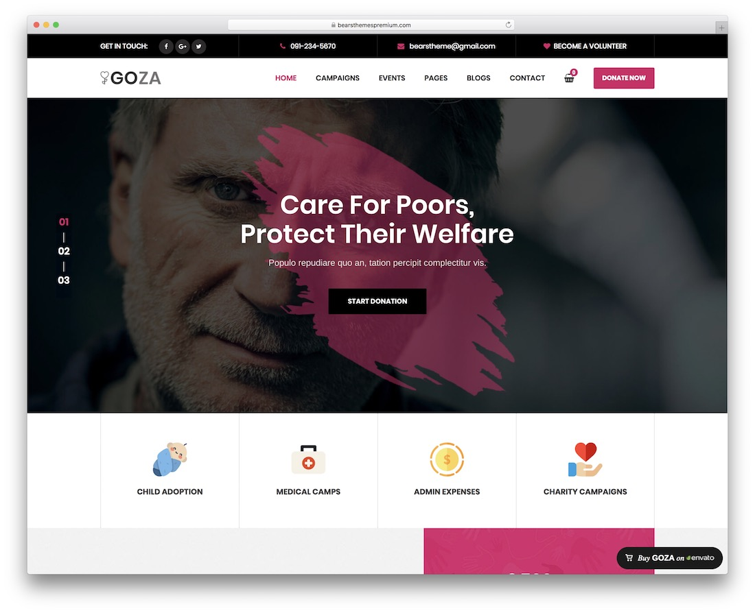 goza wordpress theme for non-profit charity organizations