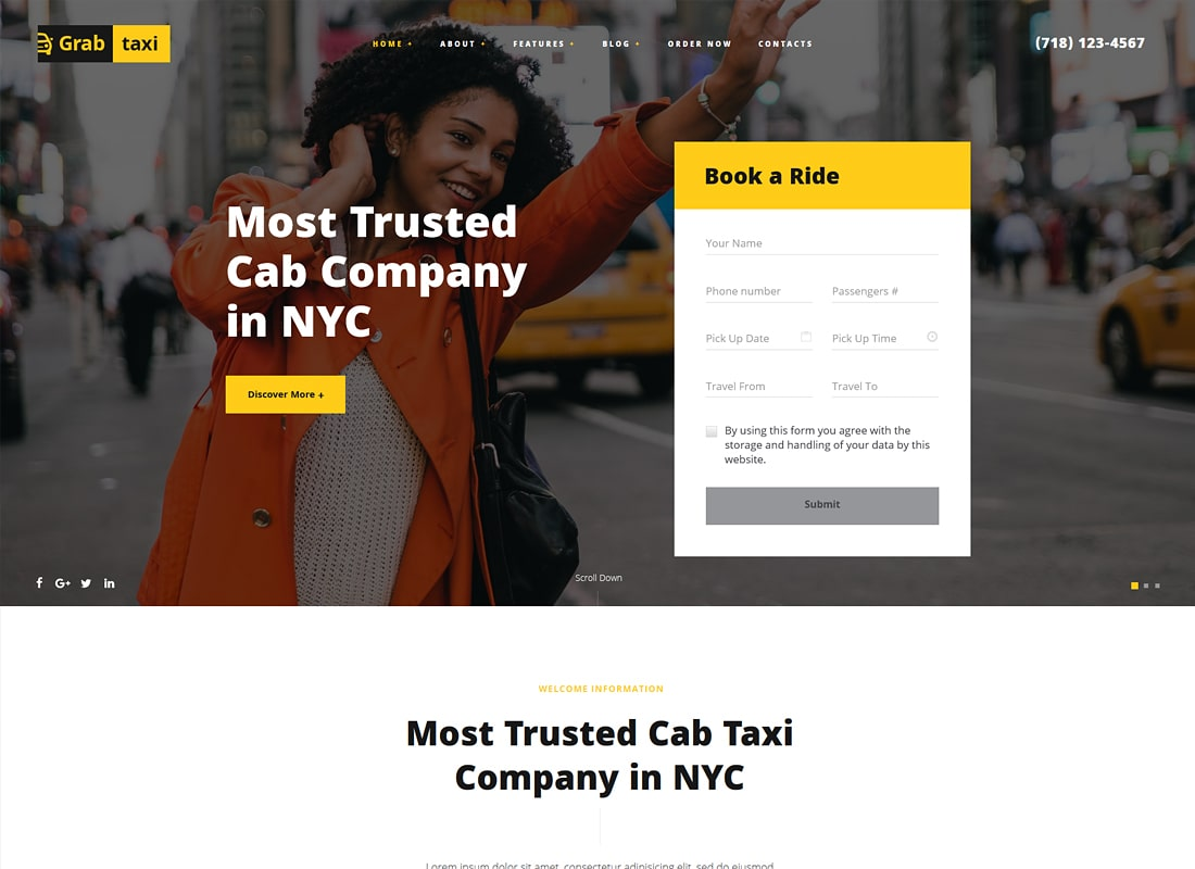 Grab Taxi | Online Taxi Service WordPress Theme
