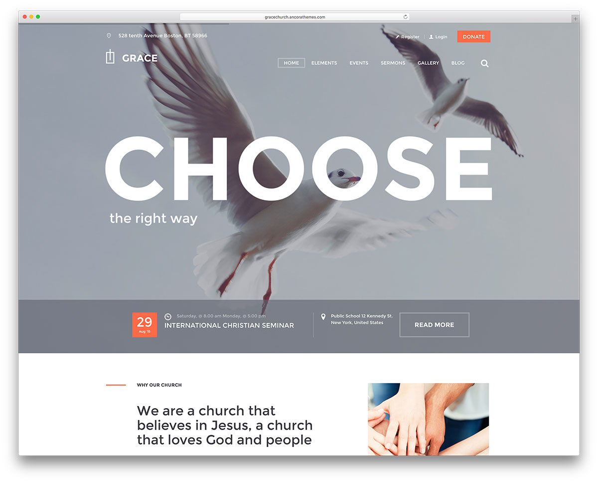 Grace church wordpress website template