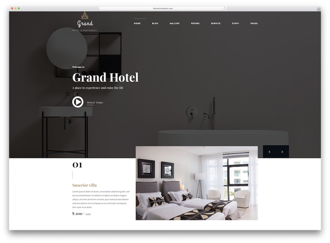 grand hotel travel website template