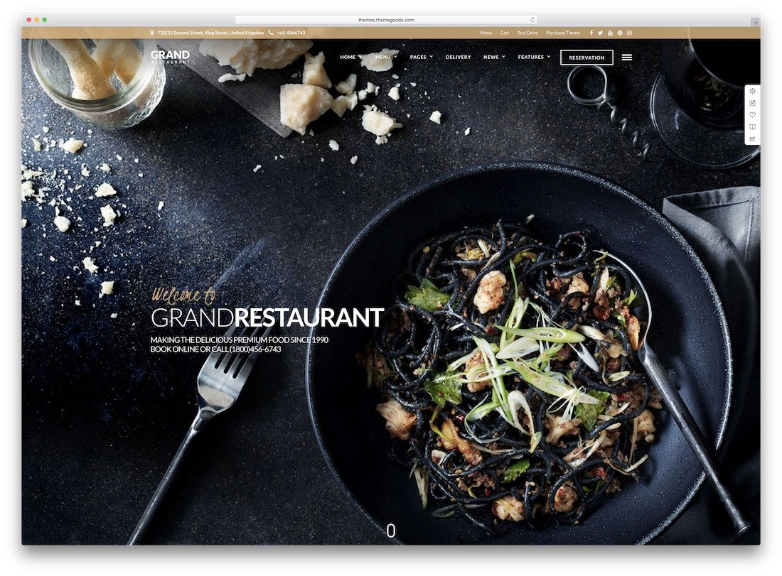 grand restaurant best catering wordpress theme