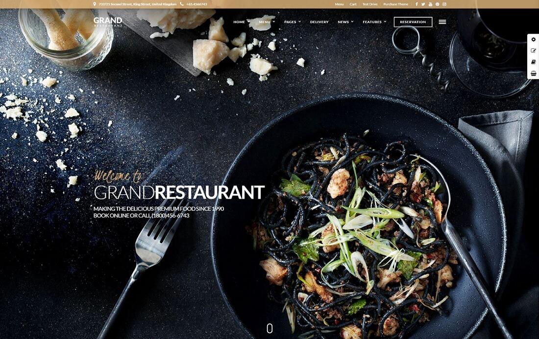 grand restaurant catering wordpress theme
