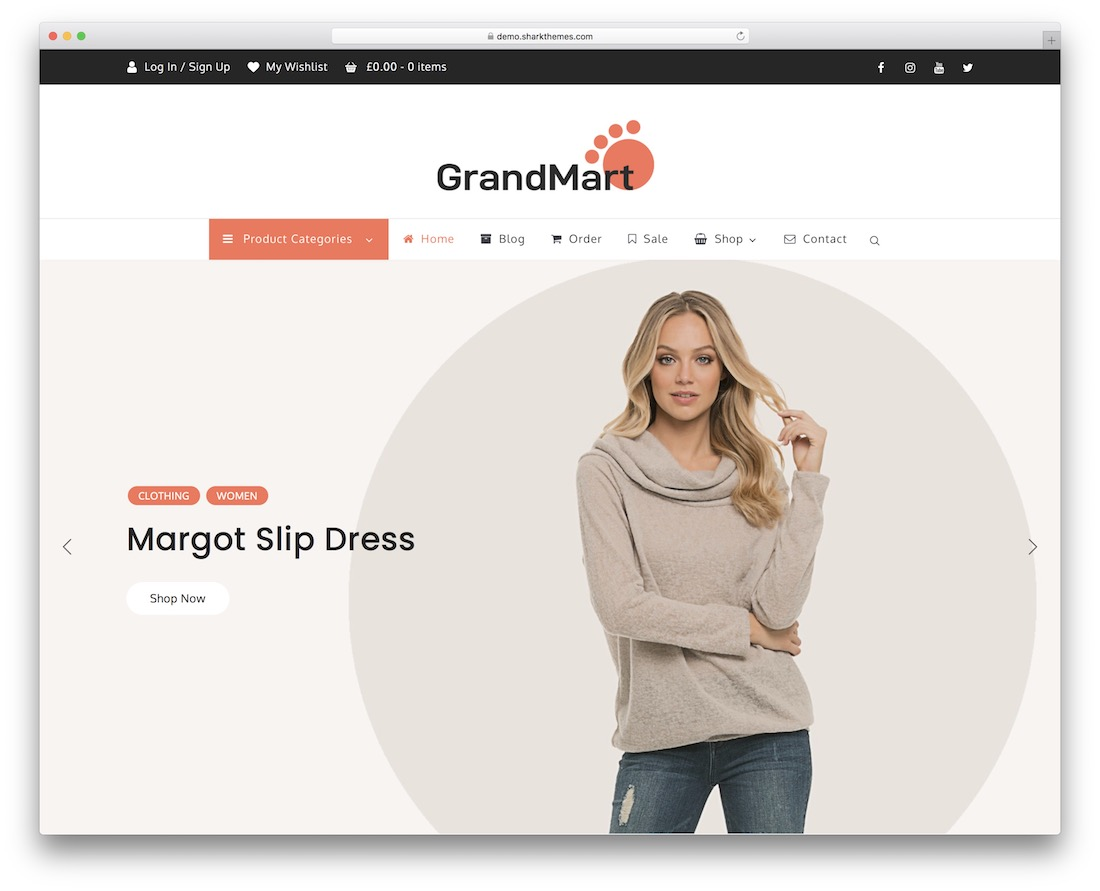 grandmart free ecommerce wordpress theme