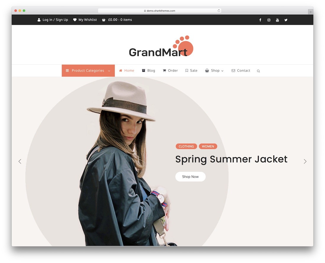 grandmart free woocommerce wordpress theme