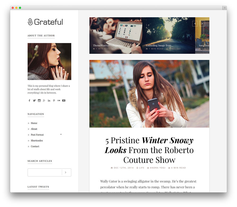 grateful clean blog theme
