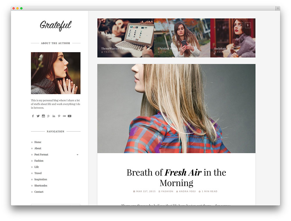 grateful fashion blogging theme