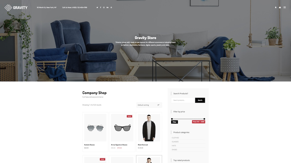 gravity ecommerce website template