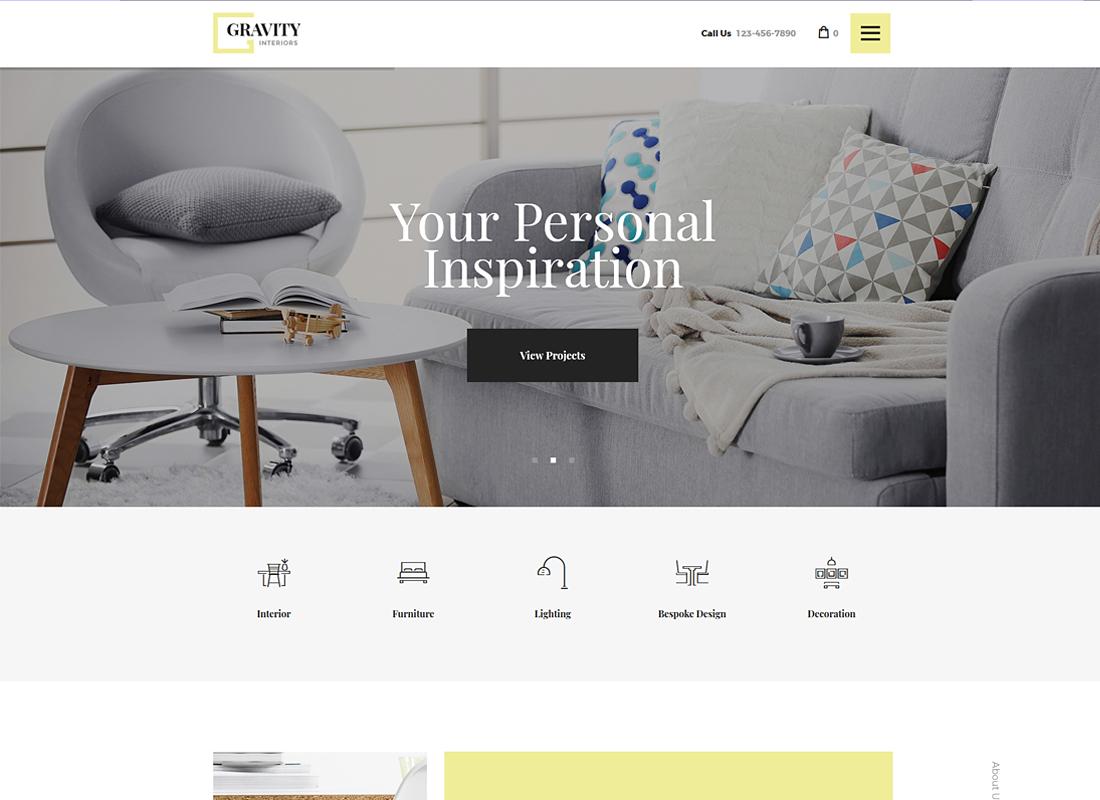 Gravity - A Contemporary Interior Design & Furniture Store WordPress Theme
