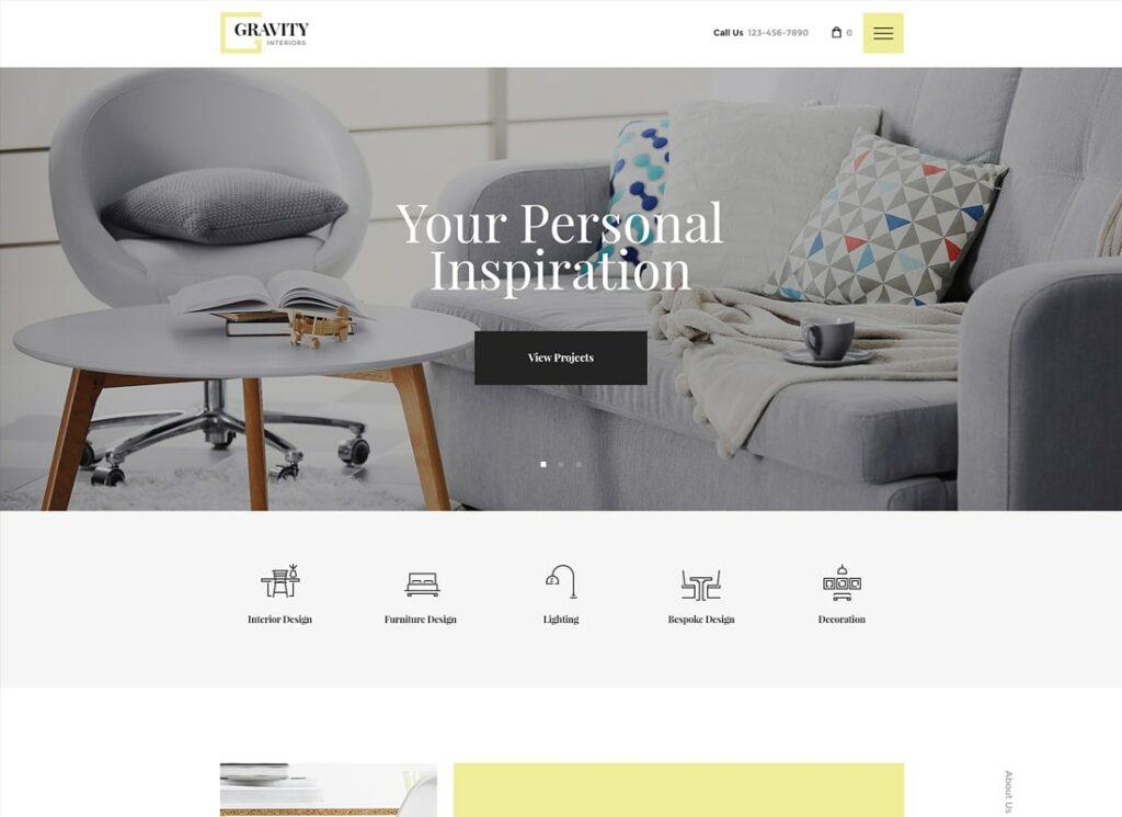 Gravity | A Contemporary Interior Design & Furniture Store WordPress Theme