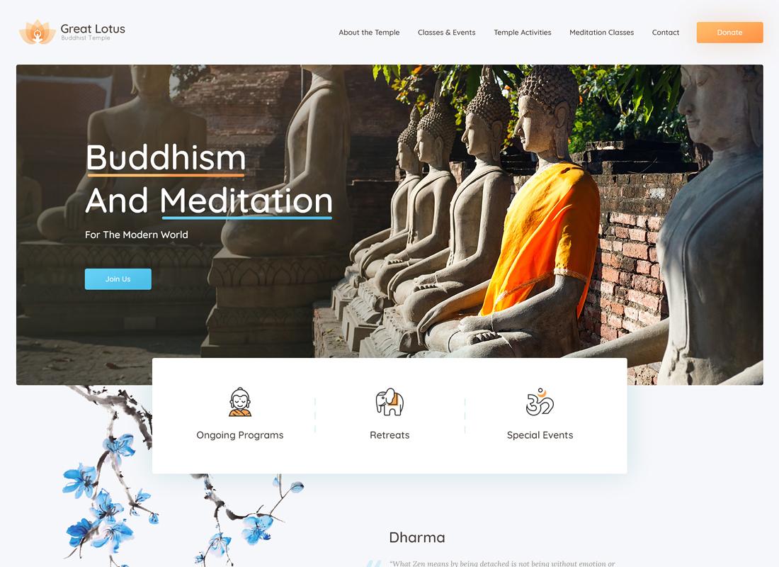 Great Lotus - Buddhist Temple WordPress Theme