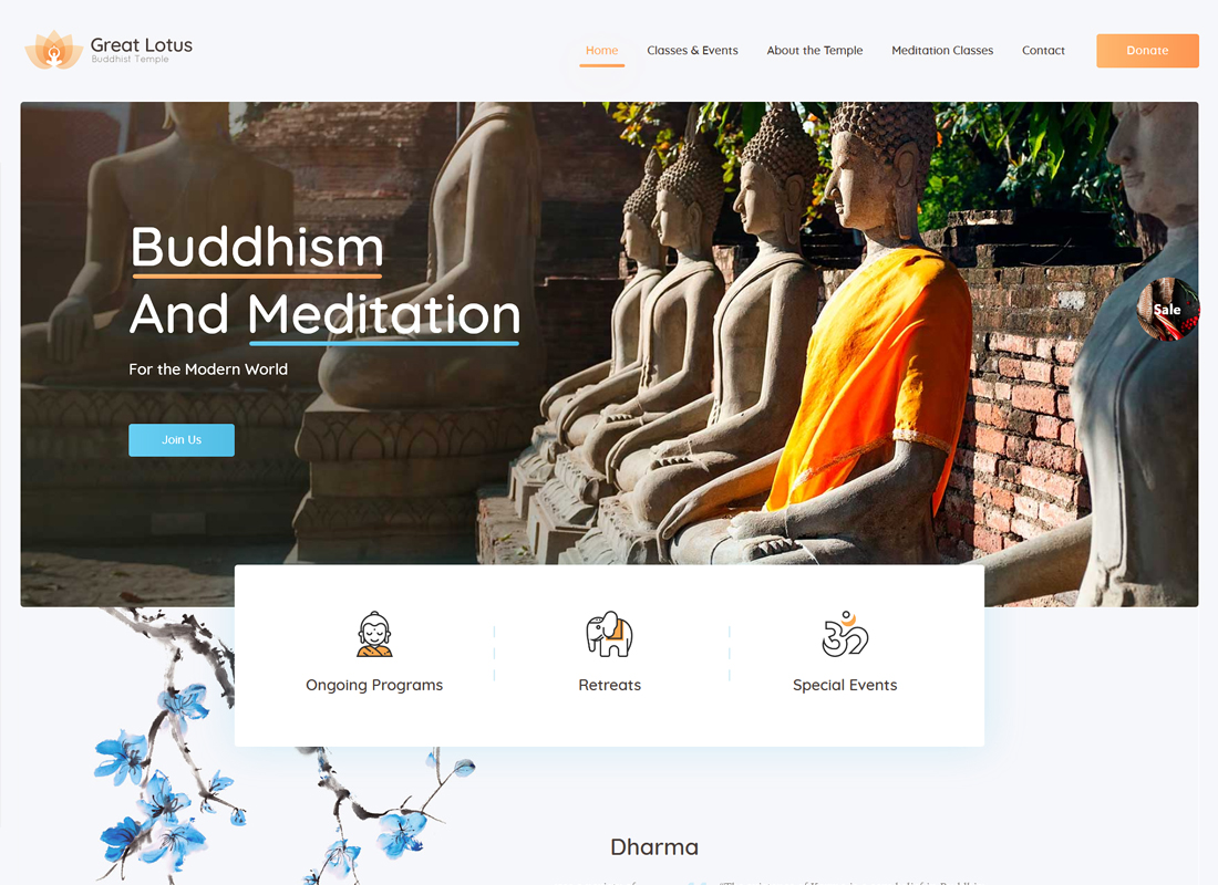 Great Lotus | Buddhist Temple WordPress Theme