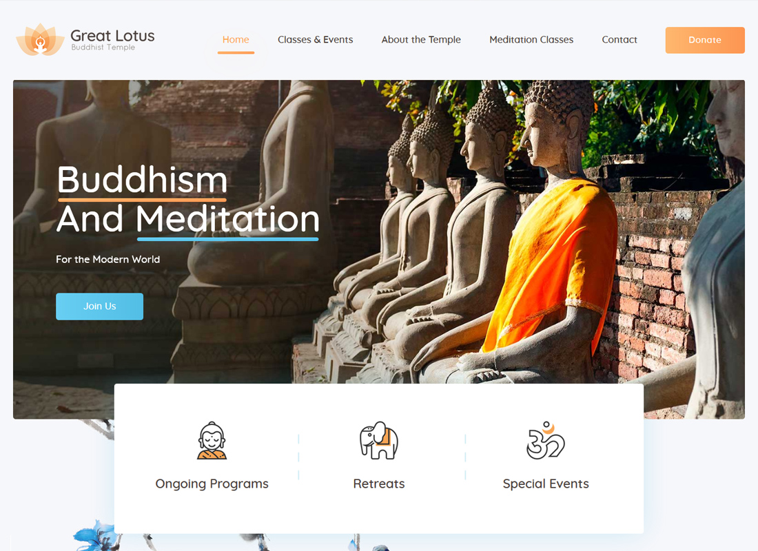 Great Lotus - Buddhist Temple WordPress Theme