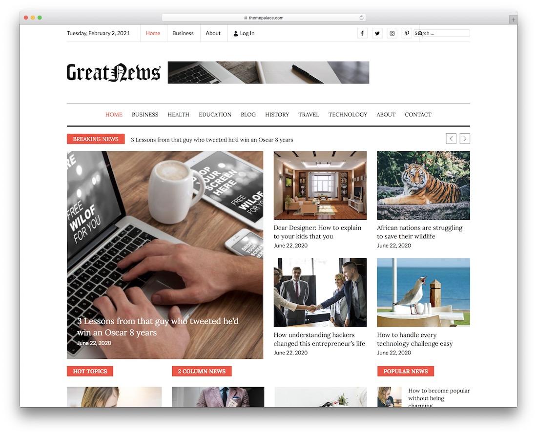 greatnews free wordpress theme