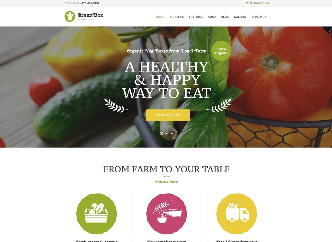 그린 박스 | 에코 농장 및 유기농 제품 매장 WordPress 테마
