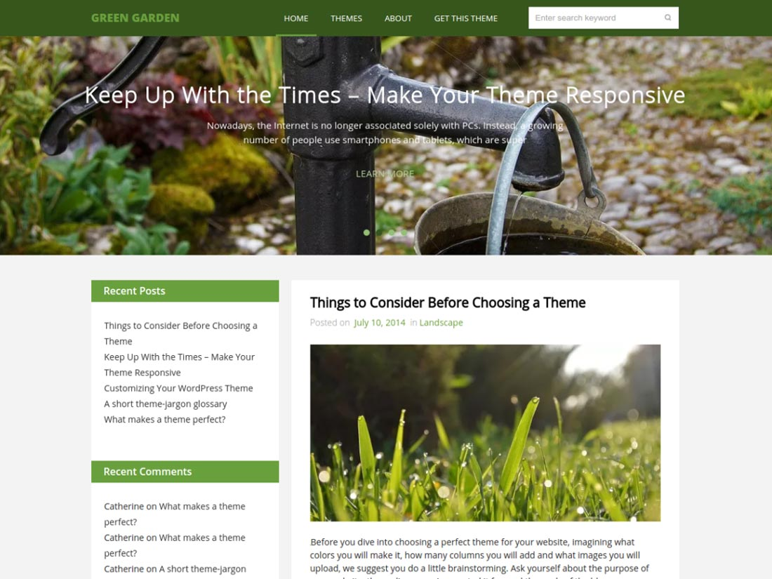 free nature WordPress themes