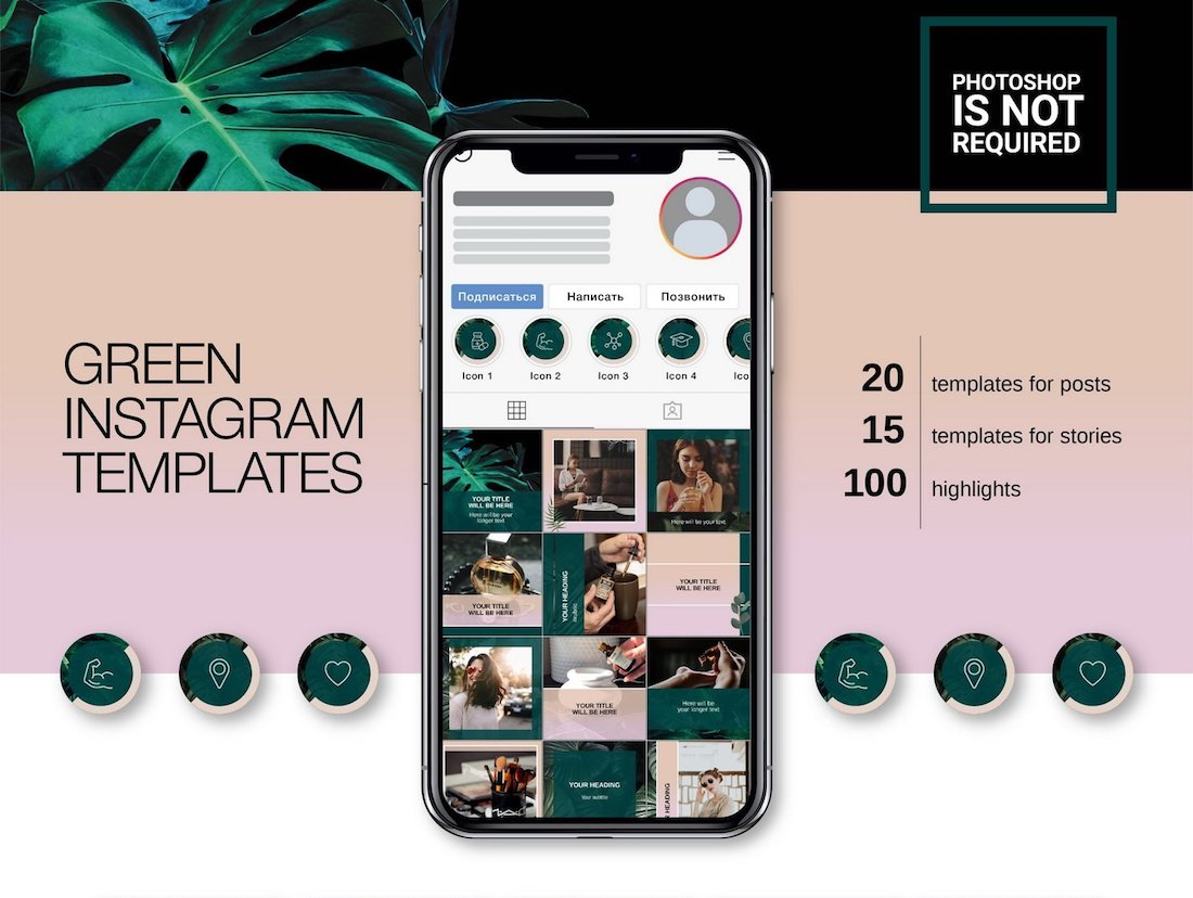 green instagram templates