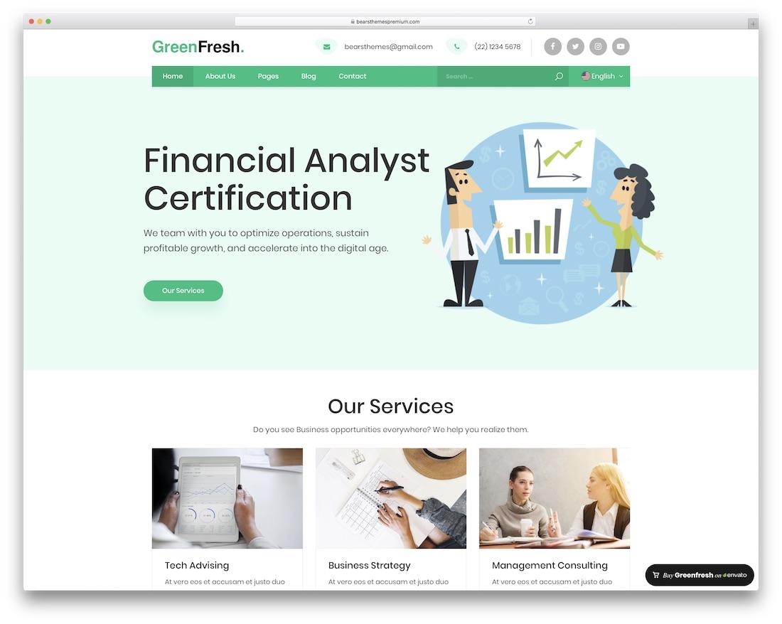greenfresh financial company wordpress theme