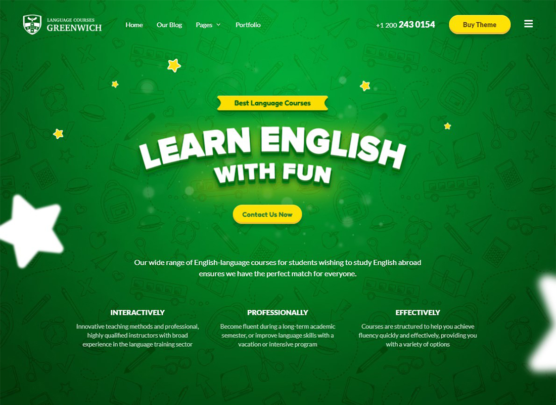 greenwich-language-school-wordpress-parallax-theme