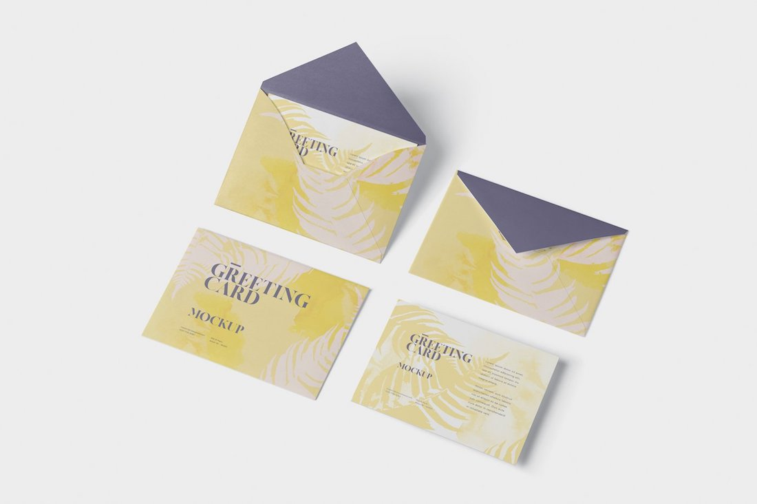 greeting-card mockup with envelop
