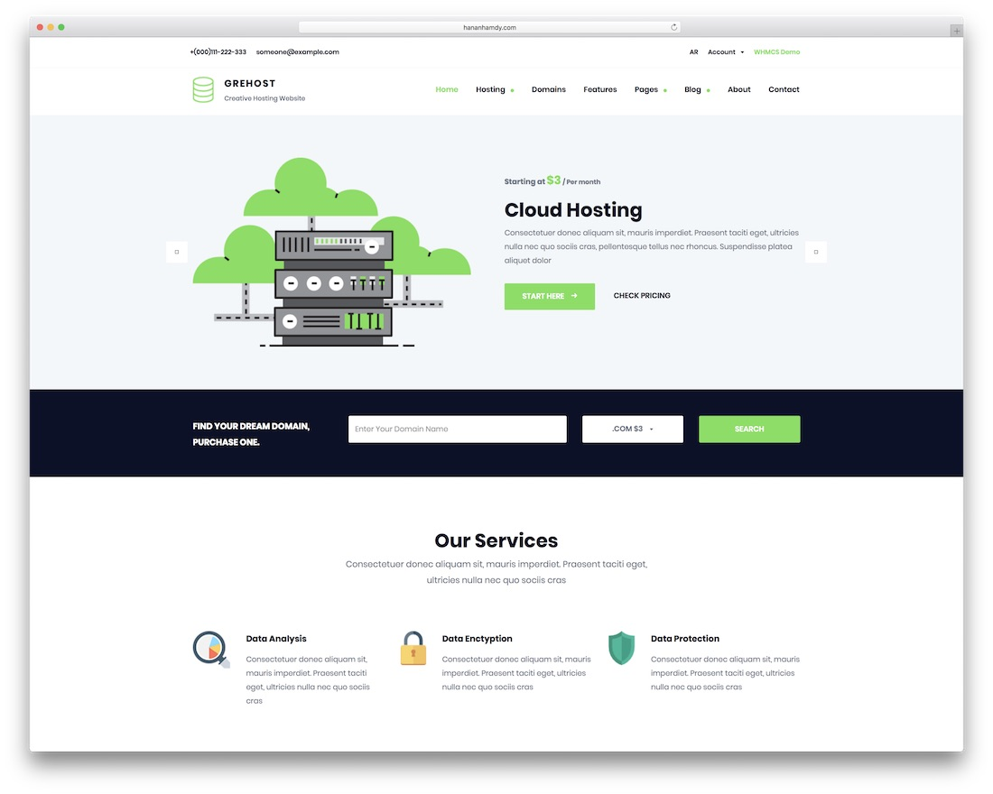 grehost web hosting website template