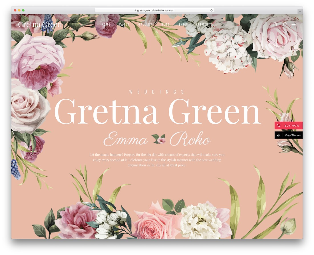 gretna wordpress wedding theme