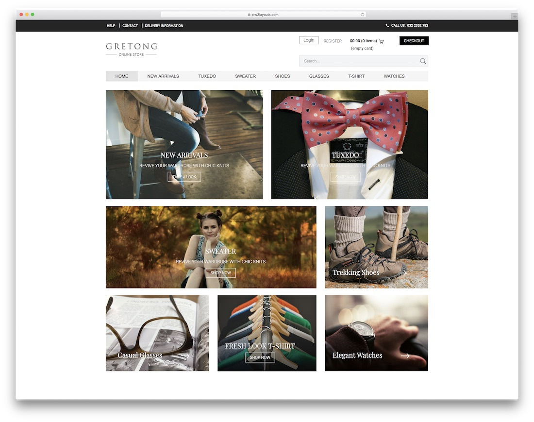 gretong free bootstrap ecommerce website template