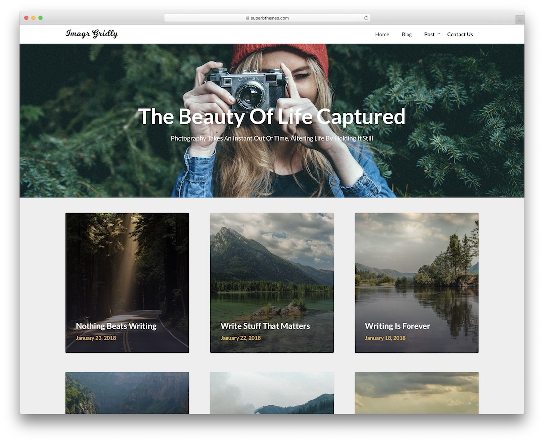 gridly free photography wordpress theme