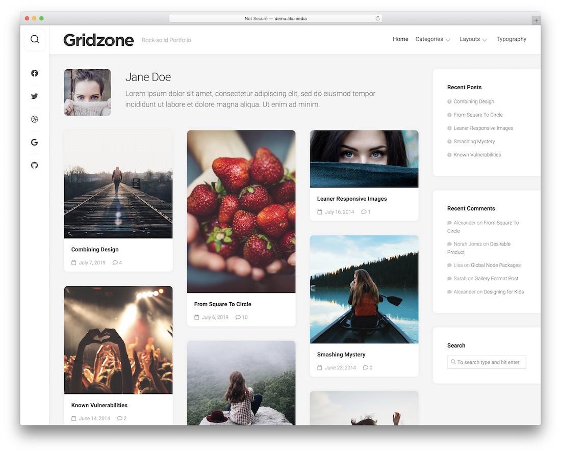 gridzone free wordpress theme