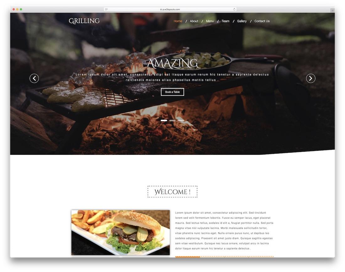 restaurants website templates