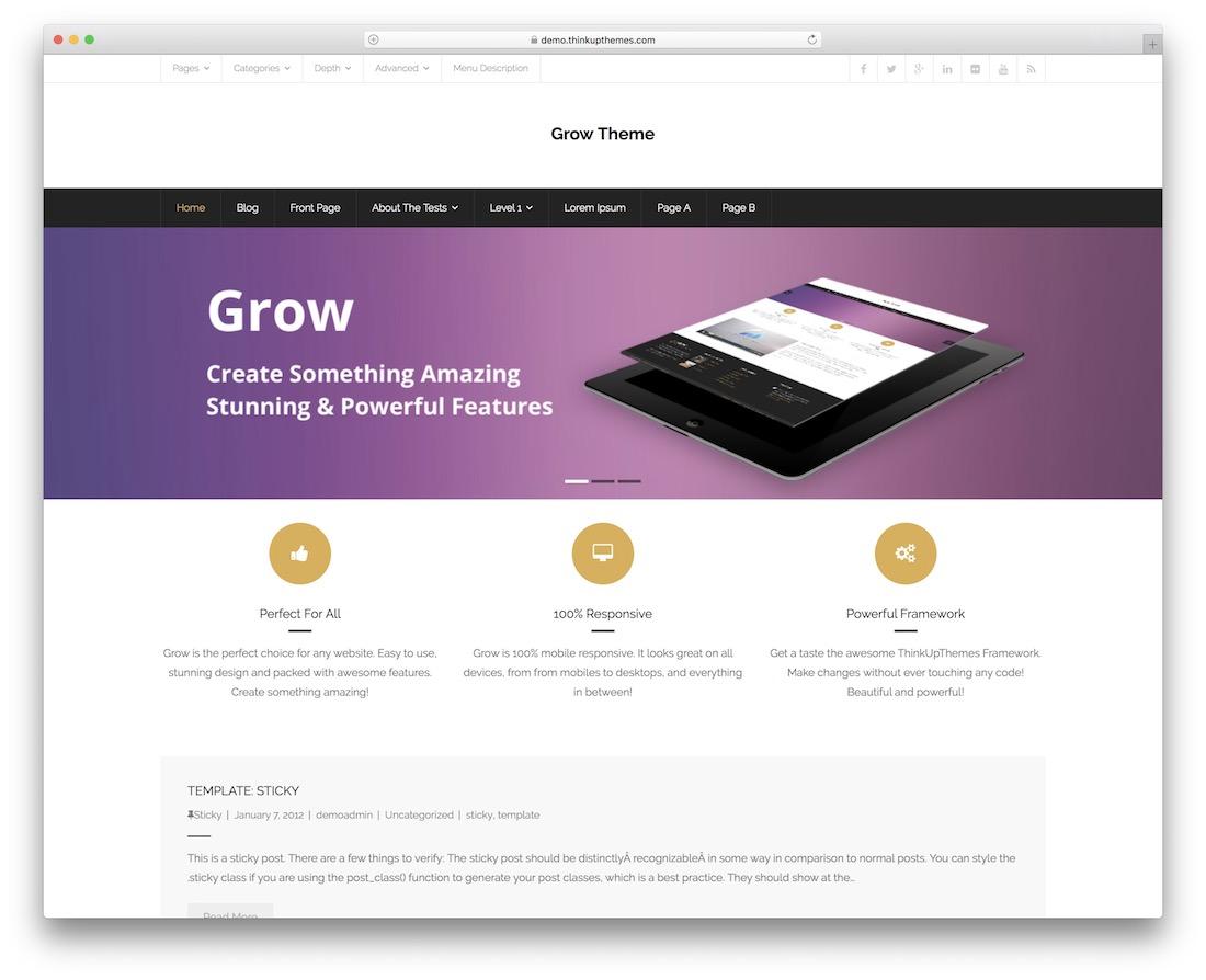 grow news free flat design wordpress theme