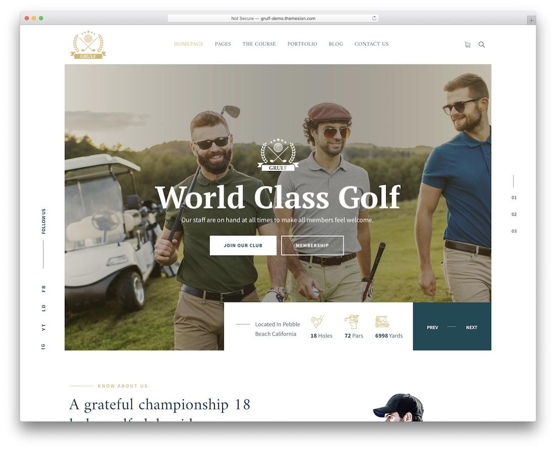 grulf wordpress golf theme