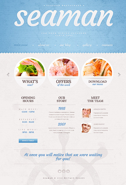 Cyan Seafood Restaurant WordPress Theme