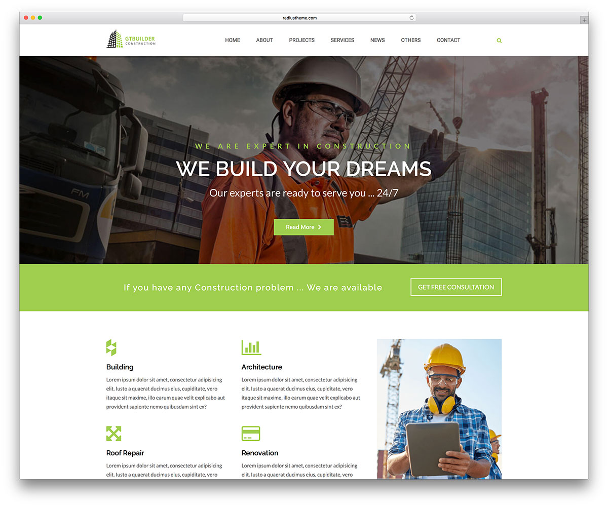 46 best construction company wordpress themes 2018 colorlib for Home builder website