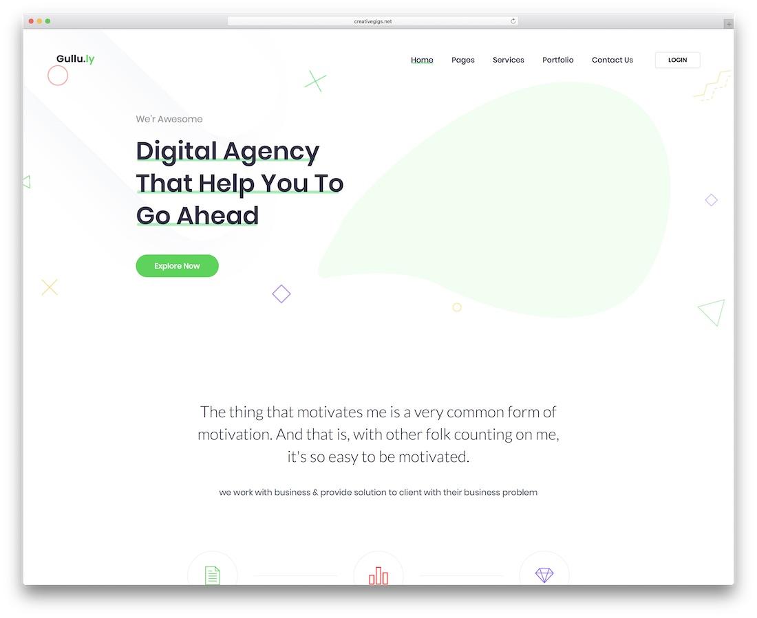 gulluly minimal website template