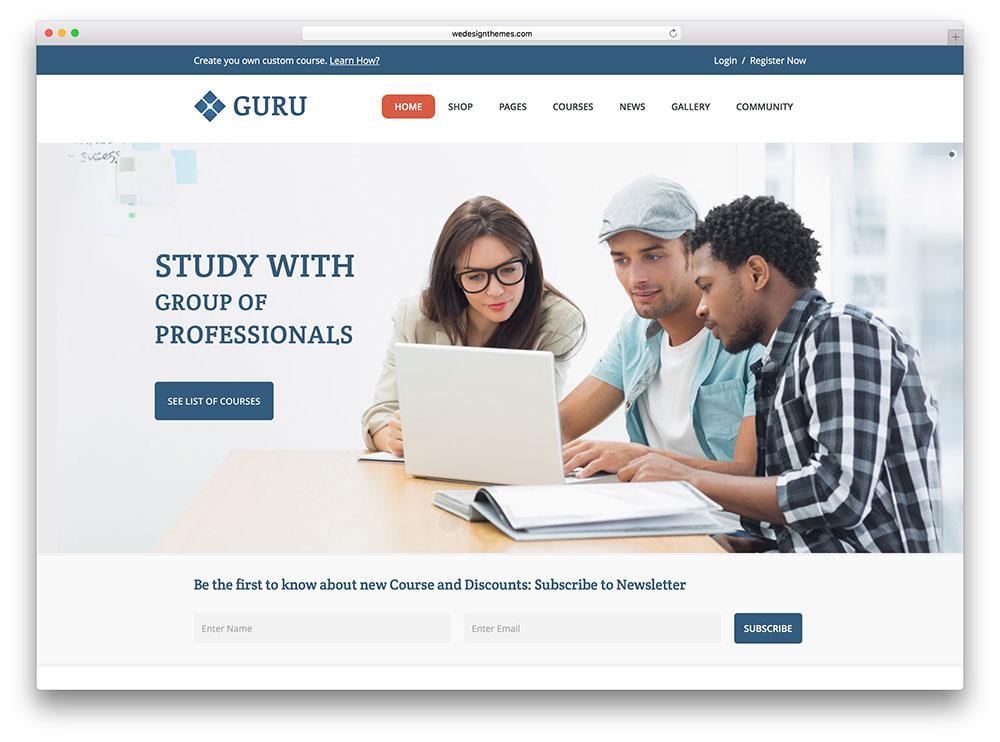 guru - classic LMS WordPress theme
