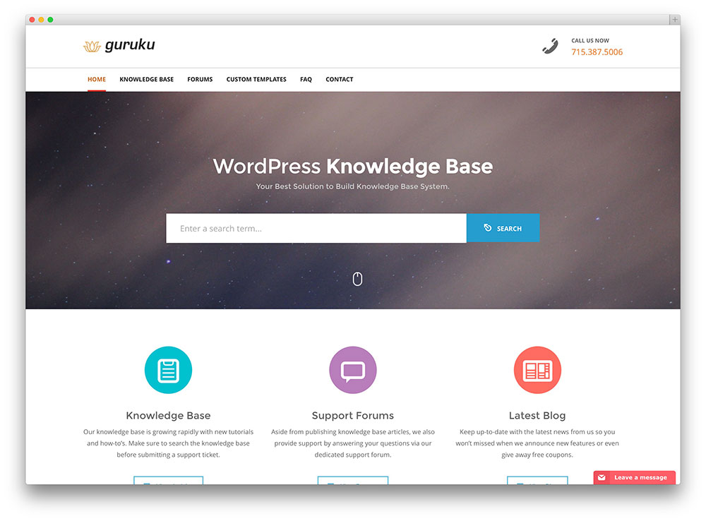 guru knowledge base theme