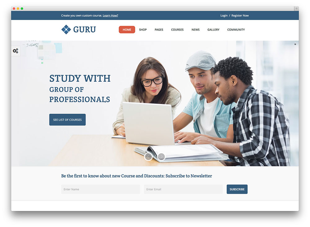 guru onlien course theme