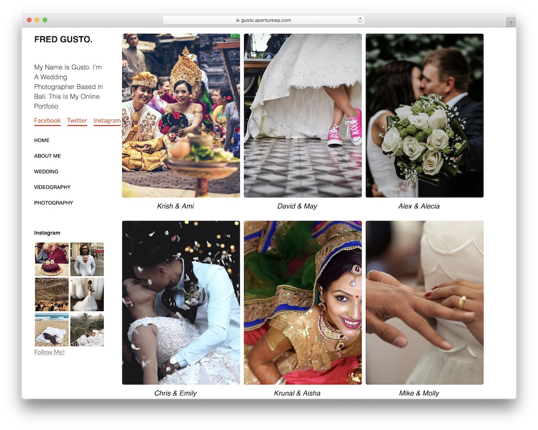 gusto free photography wordpress theme