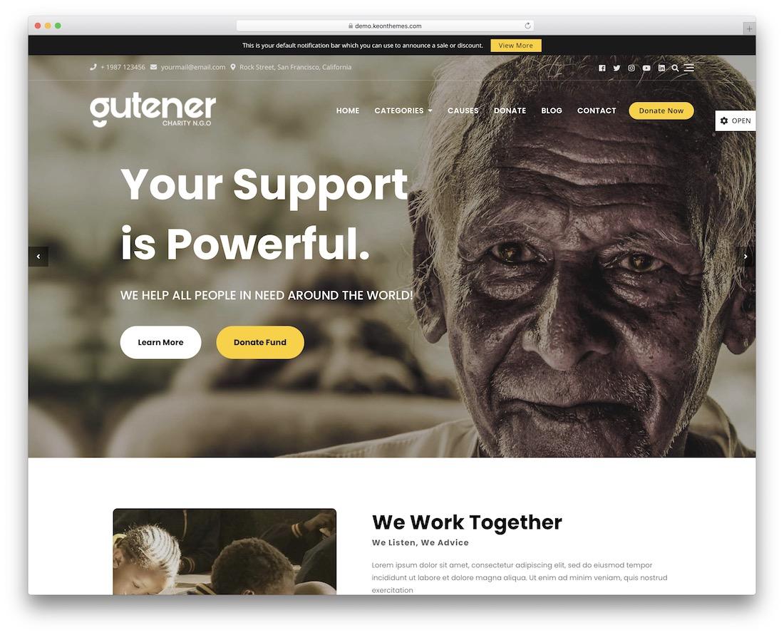 gutener charity ngo free wordpress theme