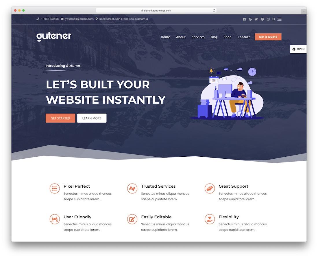 gutener free flat design wordpress theme