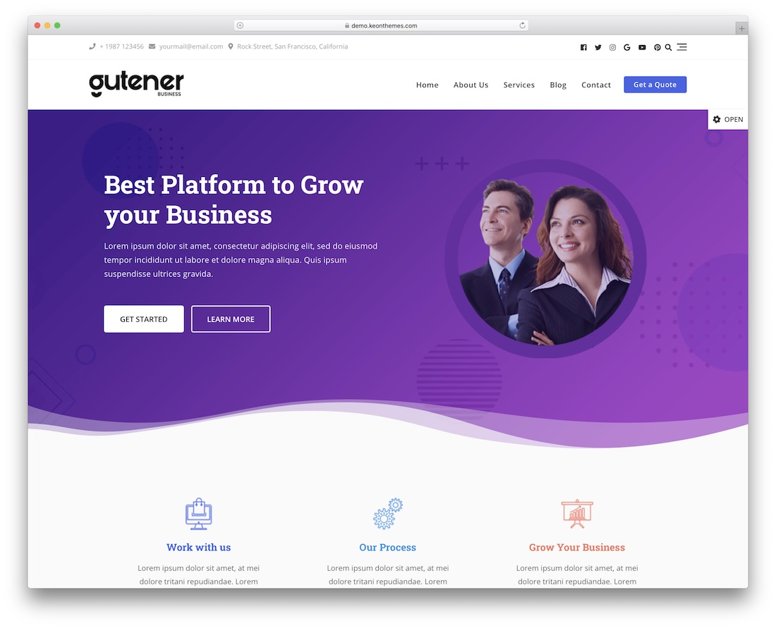 gutener free wordpress startup theme