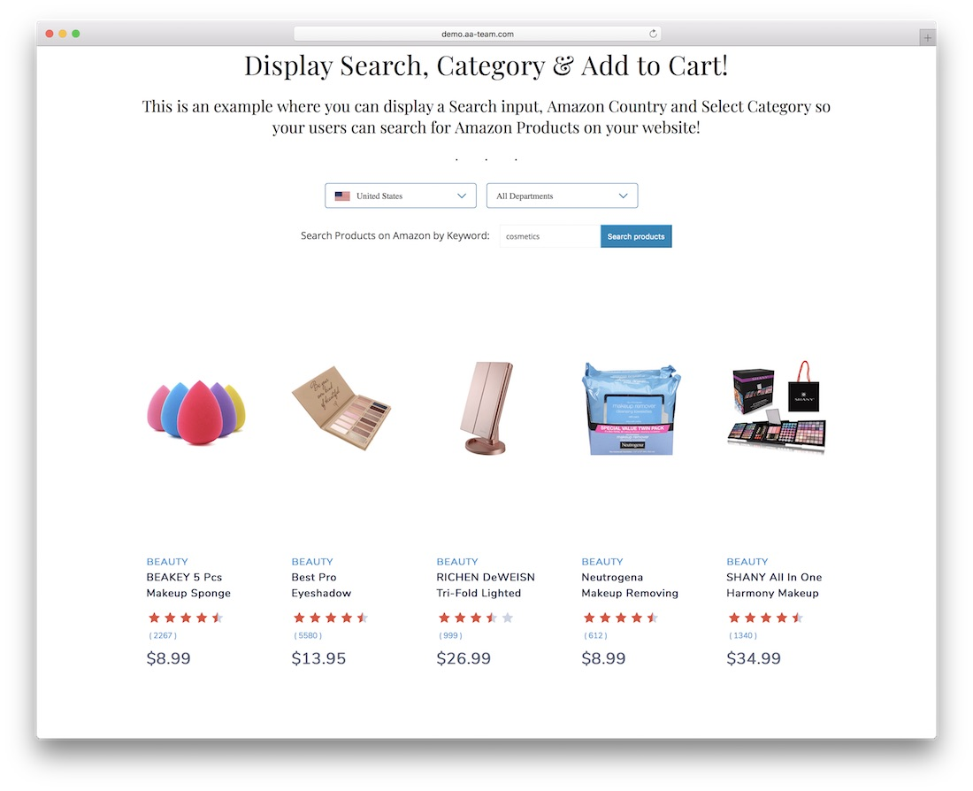 gutensearch amazon affiliates products search and embed